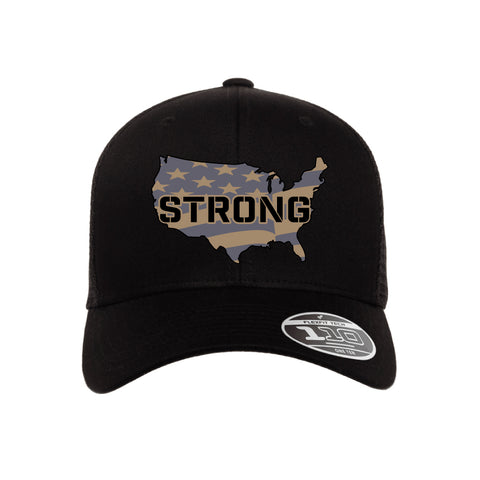 United States Strong - Black Leather Patch Snap Back