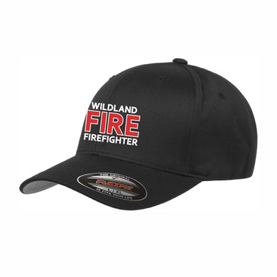 Black Wildland Fire Firefighter Flexfit® Wooly Combed Twill Cap