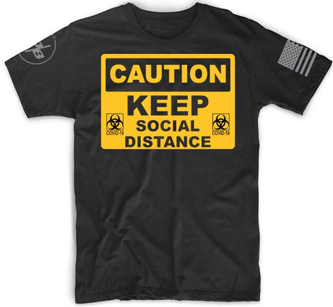 COVID-19 Social Distance Men's Next Level Premium CVC Fitted Crew T-Shirt