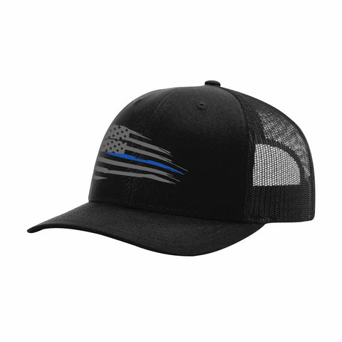 Distressed Thin Blue Flag Snapback Hat - Black