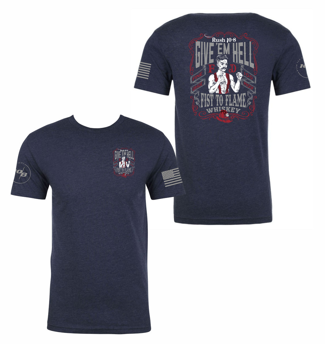 Give' Em Hell Firefighter Men's Next Level Premium Fitted CVC Crew Tee
