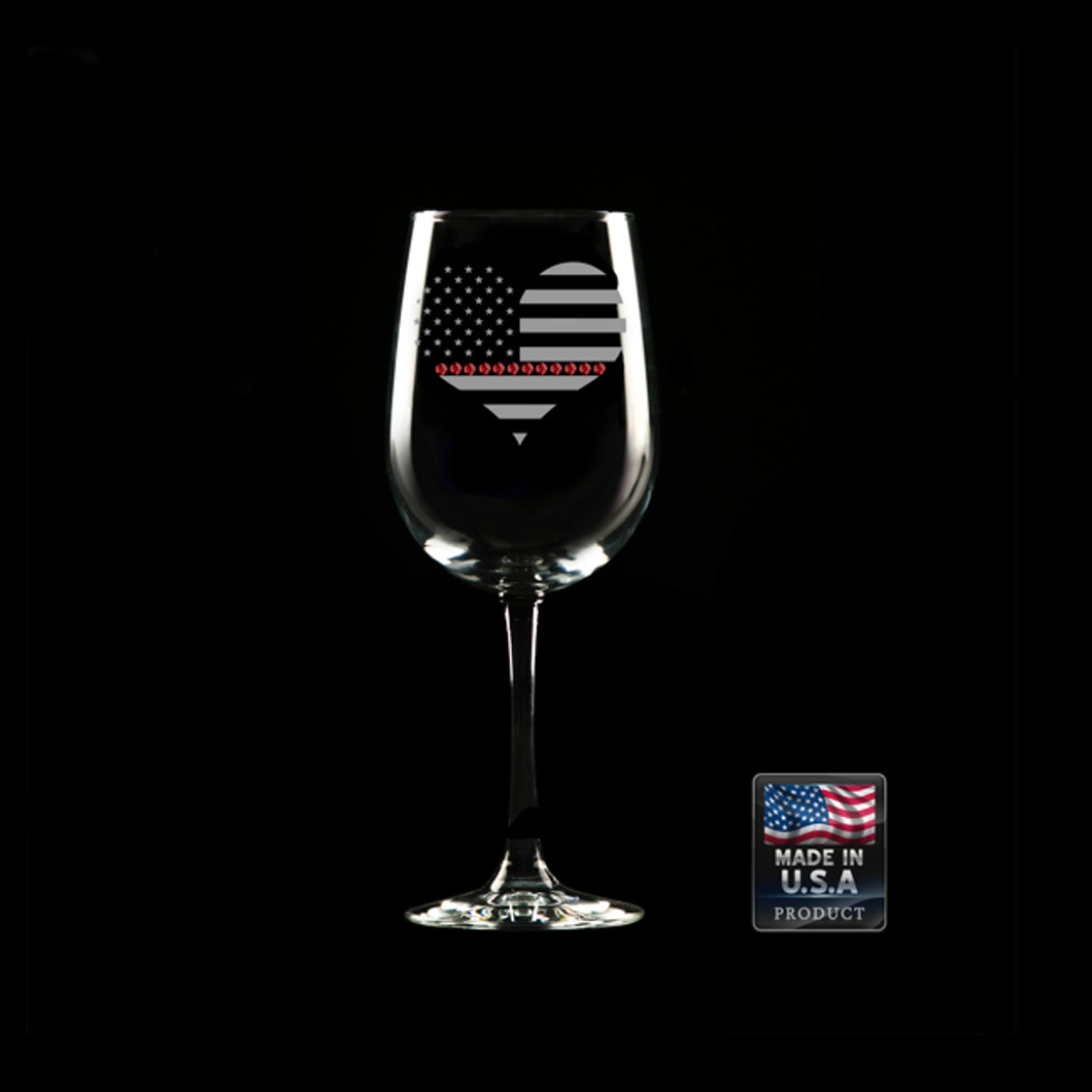 Heart Red Line Wine Glass