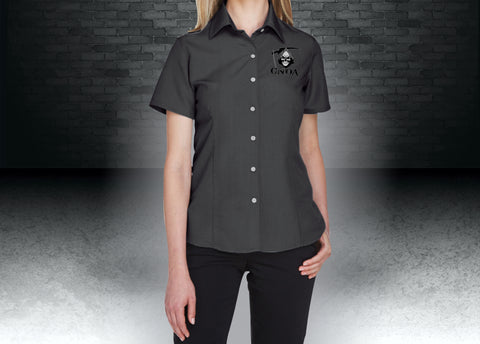CNOA Grim Reaper Harriton Ladies' Barbados Textured Camp Shirt - BLACK