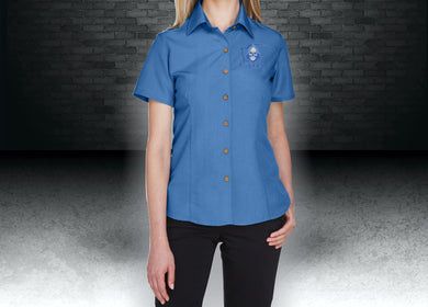 CNOA Grim Reaper Harriton Ladies' Barbados Textured Camp Shirt - Pool Blue