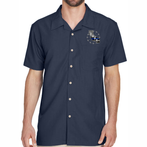 CNOA Blue Line Flag - Harriton Ladies Barbados Textured Camp Shirt - Navy