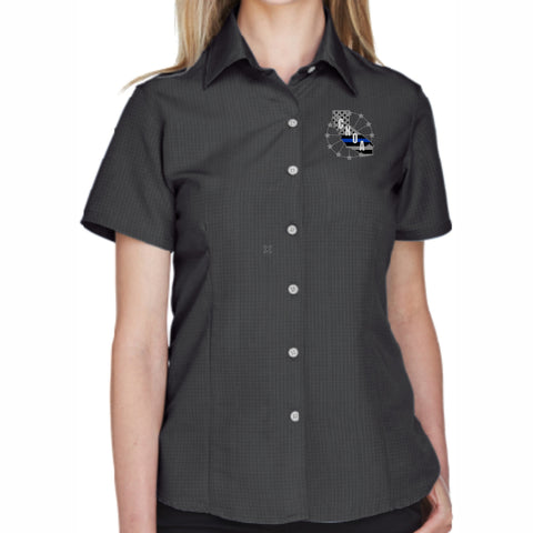 CNOA Blue Line Flag - Harriton Ladies Barbados Textured Camp Shirt - Black