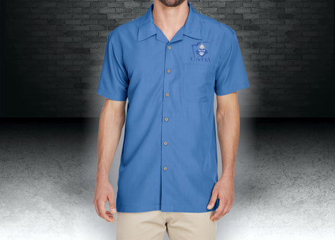 CNOA Grim Reaper Harriton Men's Barbados Textured Camp Shirt - Pool Blue