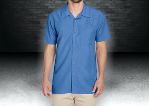 CNOA Harriton Men's Barbados Textured Camp Shirt - Pool Blue