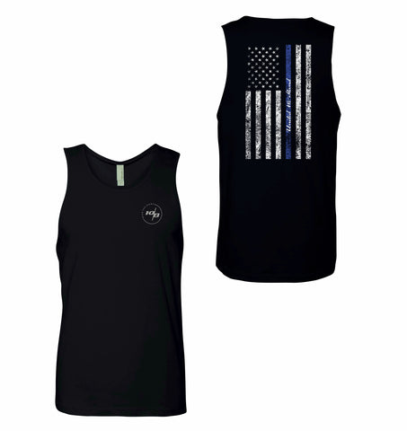CNOA United We Stand Blue Line Men's Tank Top - Black