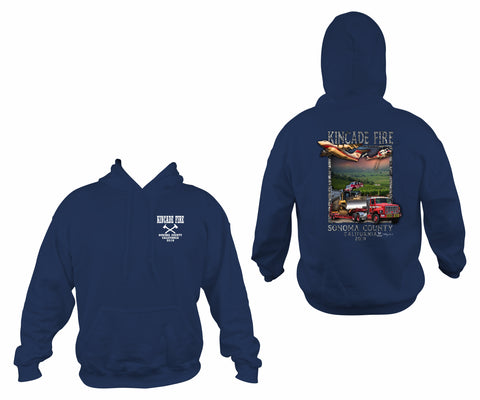 Kincade Fire Navy Gildan Hooded Pullover Sweatshirt