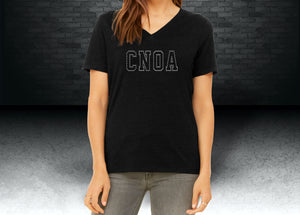 CNOA Ladies V-Neck Rhinestone Tee - Black