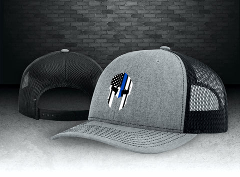 CNOA Thin Blue Line Spartan Heather Grey and Black Snapback Cap