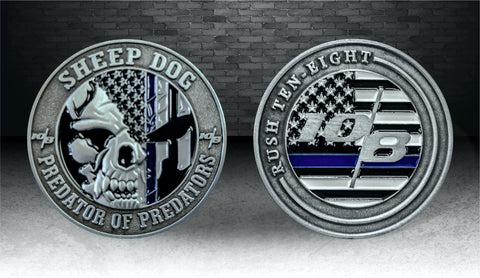 Blue Line Sheep Dog Challenge Coin