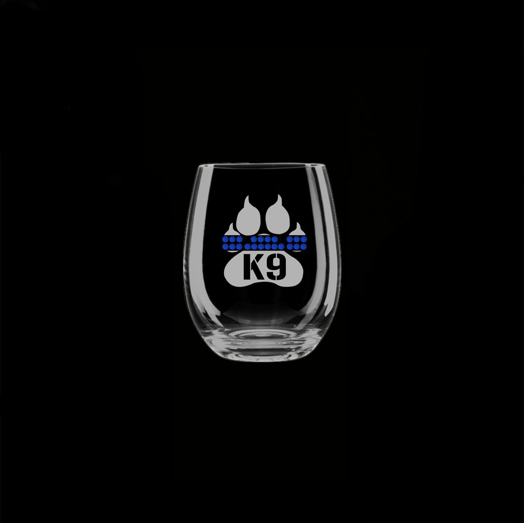 K-9 Blue Line Stemless Wine Glass