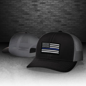 Thin Blue Line Black and Charcoal Grey Snapback Cap