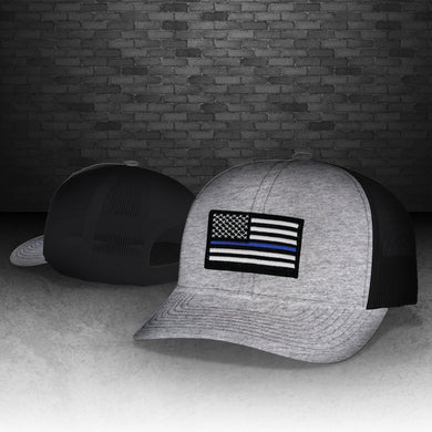 Thin Blue Line Heather Grey and Black Snapback Cap