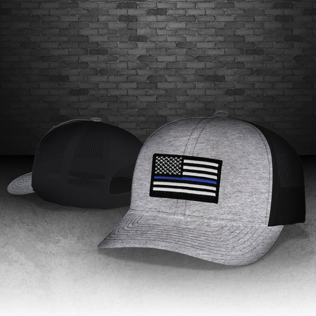 Thin Blue Line Heather Grey and Black Snapback Cap – Rush 10-8 79b98d15a66