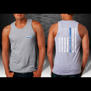 United We Stand Blue Line Men's Tank Top - Heather Gray