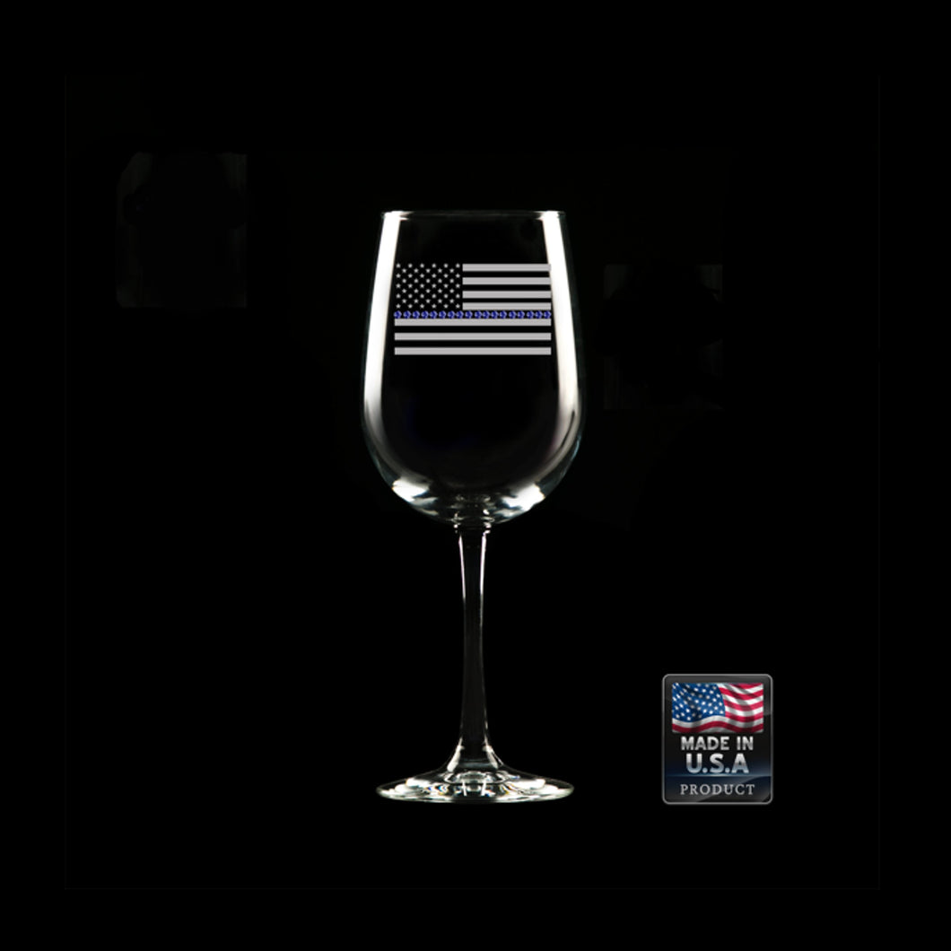 Thin Blue Line Wine Glass