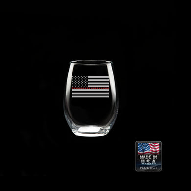 Thin Red Line Stemless Wine Glass