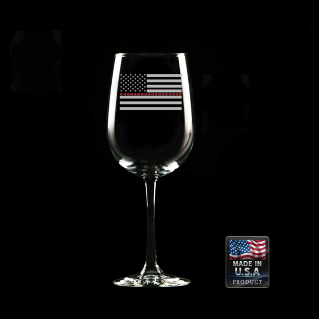 Thin Red Line Wine Glass