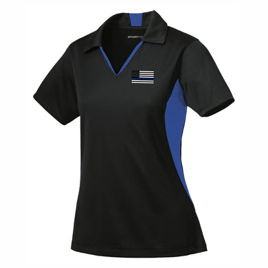 Thin Blue Line Ladies Side Blocked Micropique Sport-Wick® Polo
