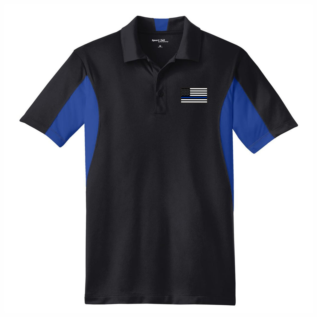 Thin Blue Line Men's Side Blocked Micropique Sport-Wick® Polo