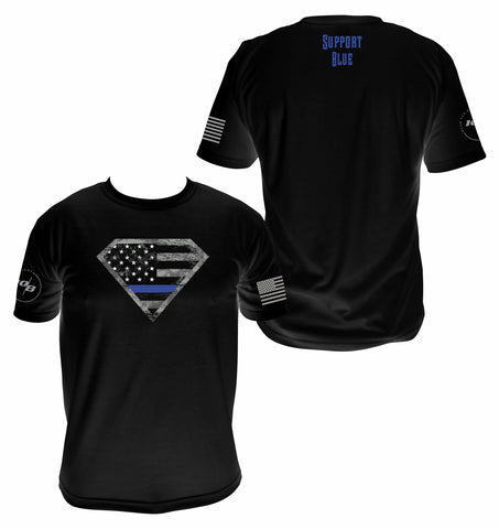 Men's Blue Line Super Hero T-shirt