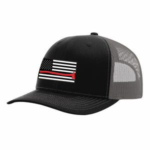 Thin Red Line Black and Charcoal Grey Snapback Cap