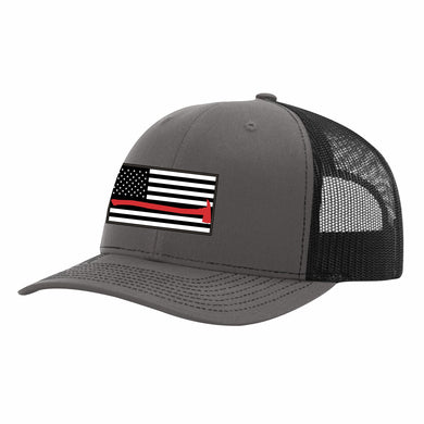 Thin Red Line Charcoal Grey and Black Snapback Cap