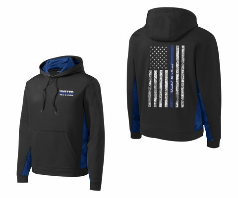 CNOA United We Stand Blue Line Fleece Colorblock Hooded Pullover