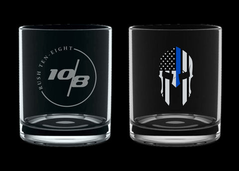 Blue Line Spartan Whiskey Glass