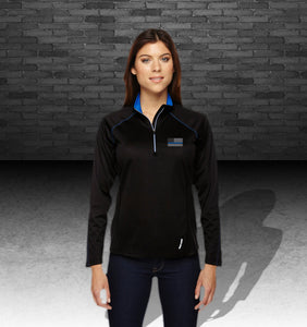Ladies' Blue Line Radar Quarter-Zip Performance Long-Sleeve Top