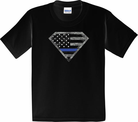 Youth Blue Line Shield Tee