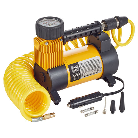 masterflow mf-1040 yellow 12 volt air compressor with coil hose
