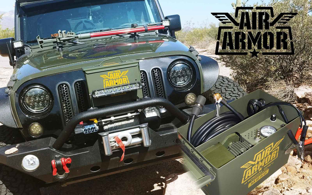 air armor m240 tire inflator mounted on green jeep off road with rair road jack and cool bumper