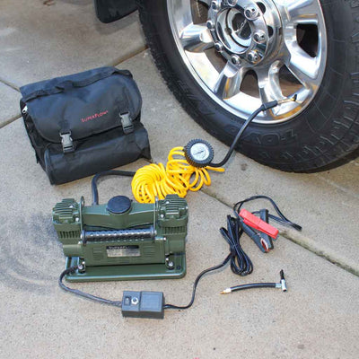 mv-89g air pump for tires carry bag coil hose and power cable