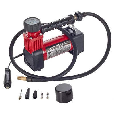 portable 12 volt car tire pump red