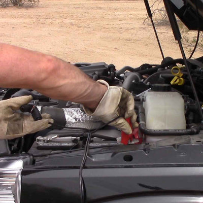 connecting tire air pump to truck battery
