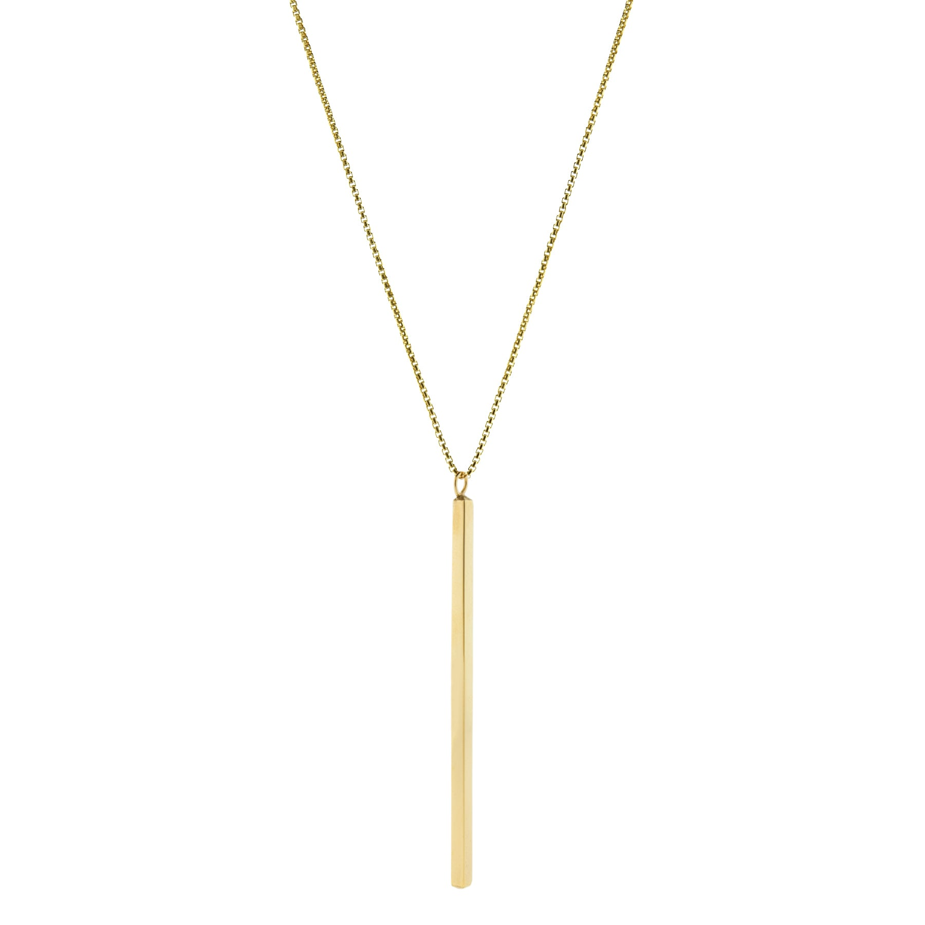 A long slender vertical gold pendant with inscription on a gold chain