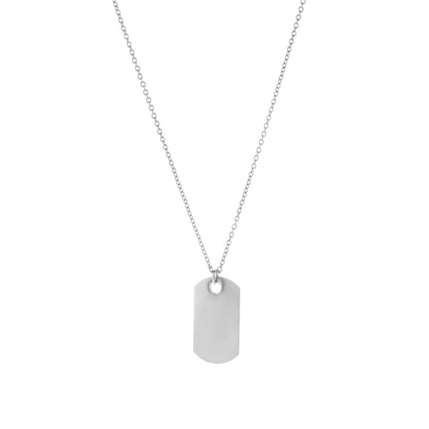 A flat dog tag with inscription on a chain