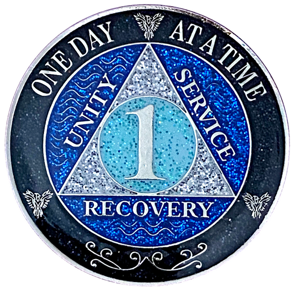 AA  Recovery Glitter Coin Years 1-50 (blue, black, glitter coin)