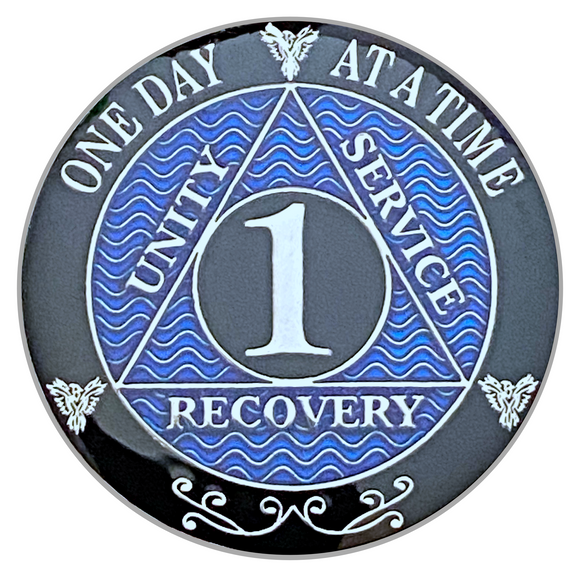 AA Recovery Medallions Years 1-45 (Blue, Silver)