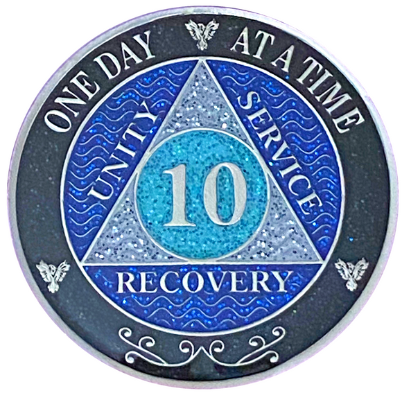 AA 10 Year Silver Color Plated Glitter Coin, Blue, Silver, Black Rainbow Glitter Alcoholics Anonymous Medallion