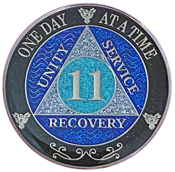 AA 11 Year Silver Color Plated Glitter Coin, Blue, Silver, Black Rainbow Glitter Alcoholics Anonymous Medallion