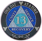AA 13 Year Silver Color Plated Glitter Coin, Blue, Silver, Black Rainbow Glitter Alcoholics Anonymous Medallion