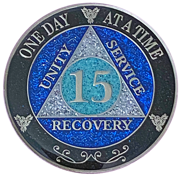 AA 15 Year Silver Color Plated Glitter Coin, Blue, Silver, Black Rainbow Glitter Alcoholics Anonymous Medallion