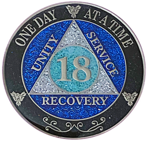 AA 18 Year Silver Color Plated Glitter Coin, Blue, Silver, Black Rainbow Glitter Alcoholics Anonymous Medallion