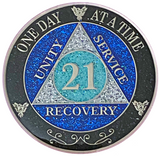 AA 21 Year Silver Color Plated Glitter Coin, Blue, Silver, Black Rainbow Glitter Alcoholics Anonymous Medallion