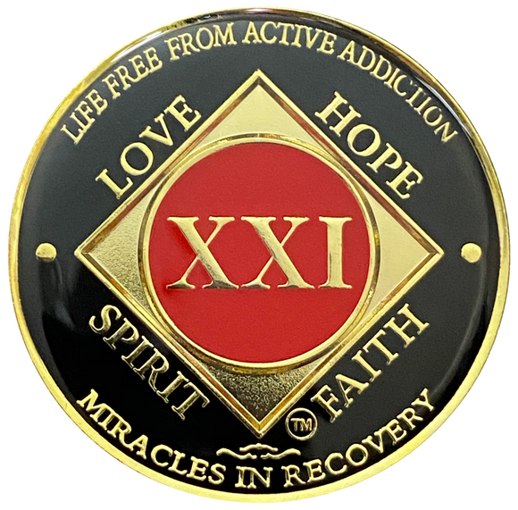NA 21 Year Coin, Gold Color Plated-Medallion, Narcotics Anonymous Coin